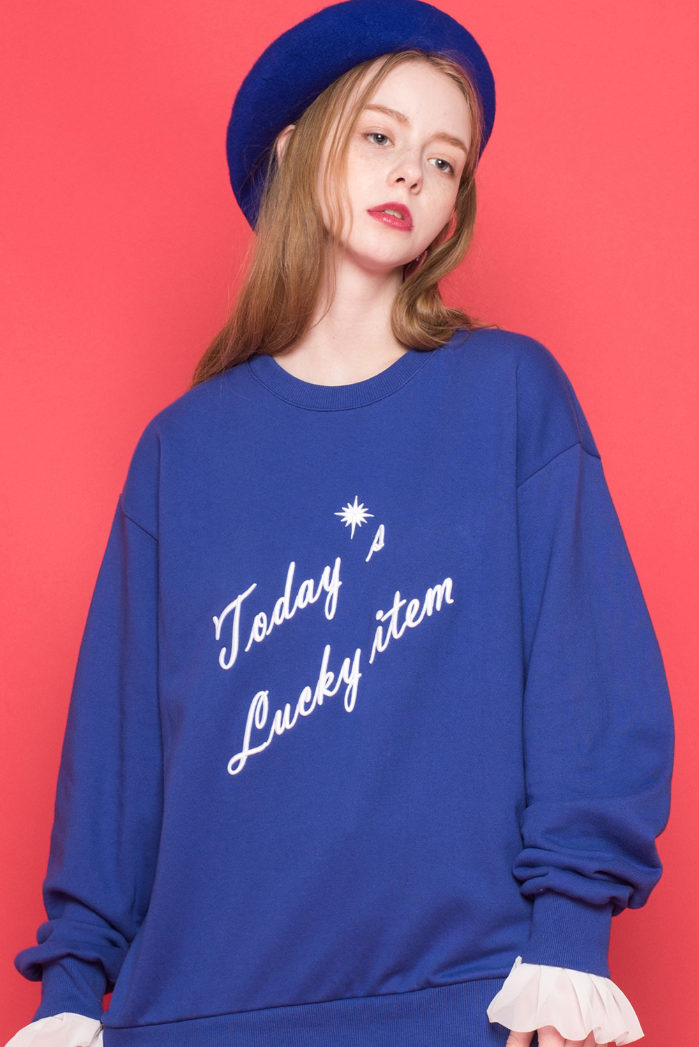 [UNISEX] Today's lucky item Sweatshirt (Blue)